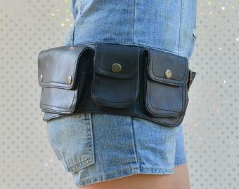 Gipsy Leather Utility Belt, Sturdy Festival Belt, Good Quality Pocket Belt, Fancy Bum Bag, Fashion Hip Bag, Festival Fanny Pack
