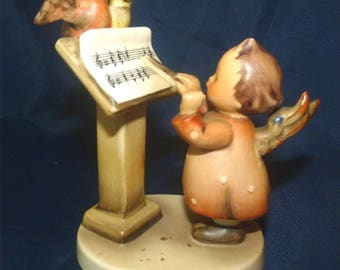 "Antique M I Hummel Figurine ""ANGEL DUET"" "" 1961 incised 159 Adorable Birds singing with angel. Current List 125 dollars. Get it at 70% off."