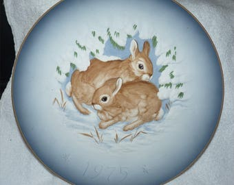 "HUTSCHENREUTHER GERMANY 1975 ""Astonished"" Signed Limited Edition of 2500 Two Cottontails by"