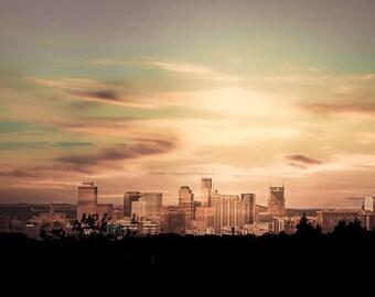 "Nashville Art, Photography, Nashville Skyline, Downtown Nashville, Country Music, Nashville Architectural, Buildings, Travel  ""Love Circle"""