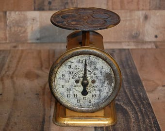 Vintage Columbia Family Scale, 25 pound metal family  universal scale, kitchen scale, produce scale, fully functional, nice aged patina