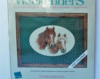 JCA Weekenders counted cross stitch kit 03503 Stablemates Horse picture Made in USA