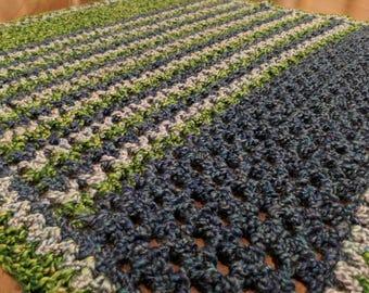 Ryland - crochet striped baby blanket for stroller or crib navy, light blue, and green