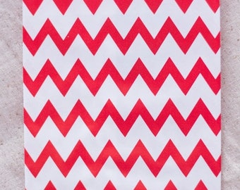 ON SALE - 15% OFF 12 Designer Red Chevron Paper Bags - Additional Items Ship Free!!!