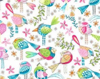 Michael Miller Fabrics - Tweet Me - CX7348-WHIT-D