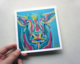 "Colorful Cow Print, 5.5x5.5"" Colorful Cattle Print by Amber Maki"
