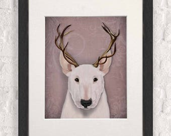 Funny bull terrier Antlers - English bull terrier dorm room decor wall art print college student gift for husband Valentines gift for him