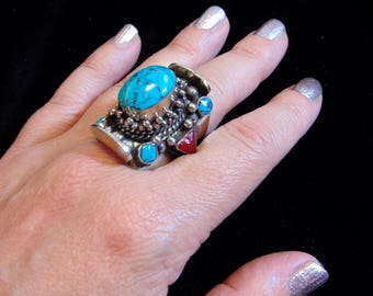 R7202 - Tibetan Silver Turquoise and  Coral Ring - Size 9 - Tribal Ethnic Statement Ring Boho