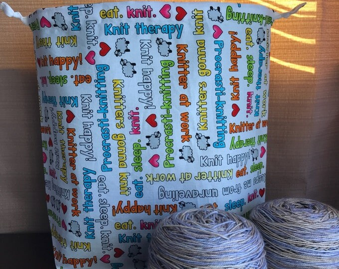 Knitting Phrases Large Drawstring Project bag