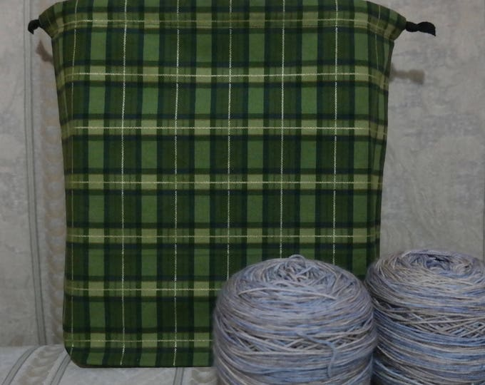 Green plaid: Large Drawstring Project bag