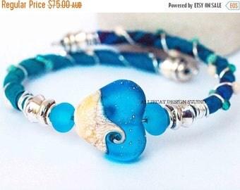 1000 SALES Bohemian Wrap Bracelet, Boho Wrap Bracelet, Bespoke Gypsy Sparkling Blue Heart Single Wrap Cuff Bracelet NEW