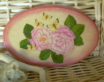 Peonies and butterflies decoupage wooden decorative plate