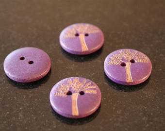 """10 """"tree"""" wooden buttons. (ref:2840)."""