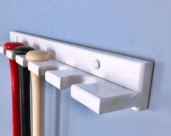 6 bat vertical baseball bat rack wall mount display holder for full size bats