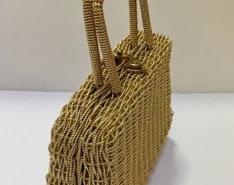 Vintage Gold Wire Basket Purse / Box Purse / Metal Evening Bag / Top Handle / Hong Kong / 1960's 70's / Formal Bag / Hipster