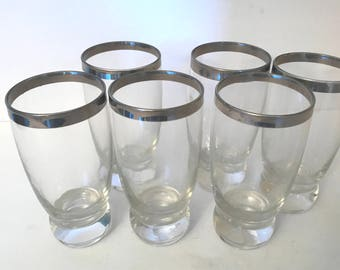 Vintage Set of (6) Silver Trimmed High Ball Tumbler - Great condition