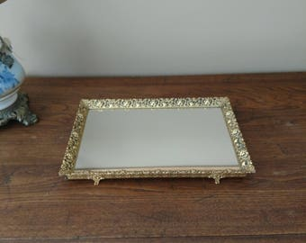 Vintage Mirrored Dresser Tray