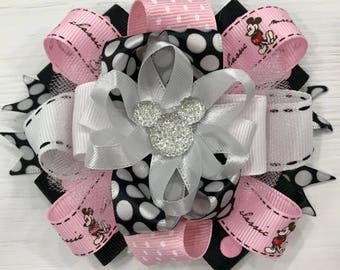 Pink and Black Mickey Bow
