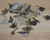 Lot of 40 Bronze Silver Gold Copper Tone Nature Pagan Charms (tree mermaid feather pentagram moon  celtic  leaf wiccan goddess wolf witch)