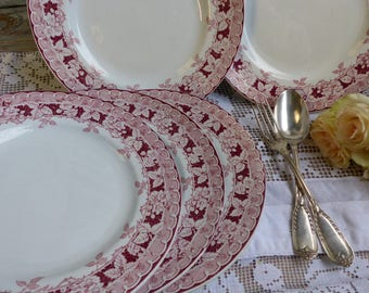 Set of 5 Antique french red transferware plates. Blackberries. French transferware. Jeanne d'Arc living. Gustavian home. french shabby chic