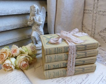 Set of 4 french pale yellow hardback books. 1930s. Ivory Jeanne d'Arc living. Rustic romantic. French Nordic. Pretty books shabby french.