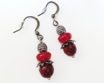 Red Earring, Black Earrings, Gunmetal Earrings, Drop Earrings, StrandzJewelry
