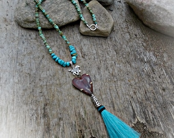 Turquoise country girl horsehair tassel necklace
