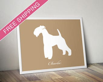 Personalized Lakeland Terrier Silhouette Print with Custom Name - Lakeland Terrier art, dog gift, dog poster