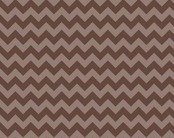 SALE Chocolate Brown Chevron 1 Yard Small Tone on Tone Riley Blake Cotton Fabric Chocolatr Brown