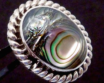 Vintage 1950s Taxco Mexico Mexican Sterling Silver Abalone Shell SINGLE Earring 23301