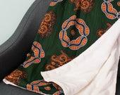 African print blanket - African print throw - Comforter - Baby blanket - Ankara blanket - African duvet - African bedding - Green Orange