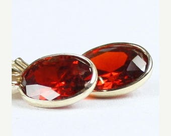 On Sale, 30% Off, Garnet CZ, 14K Gold Leverback Earrings, E001