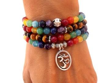 Chakra 108 Mala wrap bracelet or necklace, 7 Chakra bracelet, Mala bracelet, Om bracelet,Yoga bracelet, Meditation bracelet