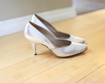 vintage SILVER heels womens 6.5