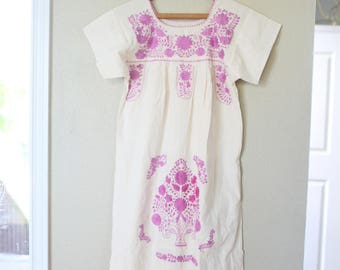 vintage cream smocked pink mauve embroidered lace tunic peasant dress
