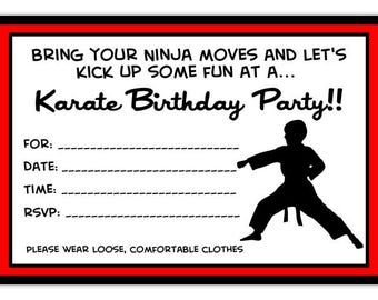 Karate Party Birthday Invitation, Karate Birthday Invitation, Tae Kwon Do Birthday Invite, Digital Design - 4x6 size