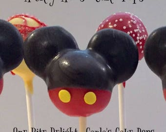 12 Mickey Mouse Cake Pops, birthday, Mickey Mouse Club