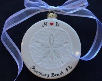 Engagement Christmas Ornament, sand dollar ornament , Wedding, Anniversary gift