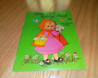 Little Red Riding Hood Coloring Book 1991 Uncolored Landoll Inc Grandma Big Bad Wolf