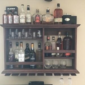 Mini bar espresso stain wine rack minimalist style bar for Mini bar wall cabinet