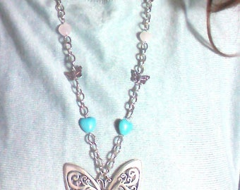 Butterfly Necklace with Turquoise Hearts, Rose Quartz and Amethyst Beads