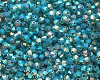 100 St. Bicone opaque turquoise 2AB, 3mm