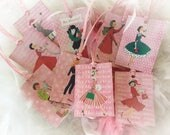 Set of 9 Pink Christmas Vintage Retro Woman Housewives Gift Bag Art Tags & Pink Raffia Ribbon Tree Ornaments Shabby Chic Retro Greeting Card