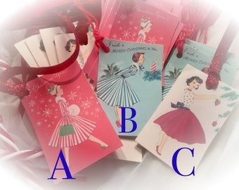 Set of 9 RETRO WOMEN LADIES Housewifes and Ribbon Gift Bag Art Tags  Ornaments Shabby Chic Greeting Card Art Tags Sweet Vintage Designs