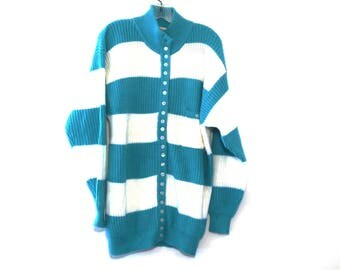 Vintage 80s sweater button down cardigan chunky knit teal blue striped