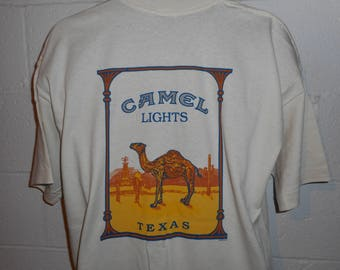 Vintage 90s Camel Lights Cigarettes Texas T-Shirt XL