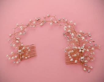 SOFIA pearl and crystal hair comb hair vine, bridal hair accessories, wedding headpiece, hair jewelry, sparkly bridal bridesmaid accessories