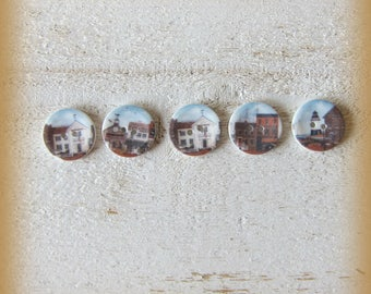 Set of 5 porcelain buttons of 18mm
