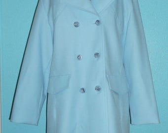 Reduced — 60s Vintage Ladies' Baby Blue Double-Breasted Rain Coat — Size Large, 12/14