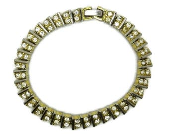Rhinestone Tennis Bracelet, Vintage Goldtone Bracelet, Double Row Rhinestone Bracelet, Bridal Jewelry, FREE SHIPPING